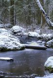 Um rio de fluxo em Finlandia imagens de stock