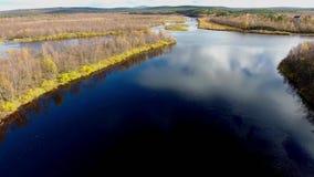 Um rio flui nesta cena bonita Escandinávia no outono definição 4K filme