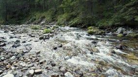 Um rio flui sobre rochas Fotos de Stock
