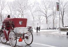Um riquexó espera em Central Park após uma tempestade da neve Imagens de Stock Royalty Free
