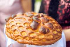 Um ritual tradicional do pão e do sal de oferecimento a um visitante desejado Imagens de Stock Royalty Free
