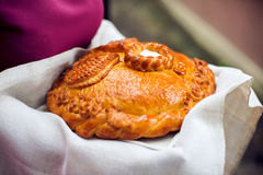 Um ritual tradicional do pão e do sal de oferecimento a um visitante desejado Foto de Stock