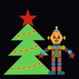 Um robô alegre que está ao lado de uma árvore de Natal, uma parte traseira preta ilustração stock