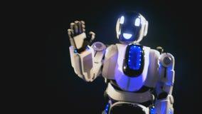 Um robô de sorriso vai perto da câmera parar e acenar seu braço 4K filme