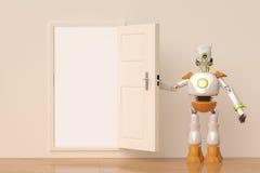 Um robô abre a porta, ilustração 3D ilustração stock