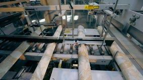 Um rolo do papel de parede e de uma linha do transporte Rolo do papel de parede Linha do transporte na fábrica do papel de parede vídeos de arquivo