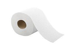 Um rolo do papel higiénico isolado no branco Fotografia de Stock Royalty Free