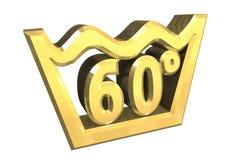 Um símbolo de lavagem de 60 graus no ouro isolou - 3D Foto de Stock Royalty Free