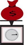 Um saco vermelho e escalas do dinheiro Imagem de Stock Royalty Free