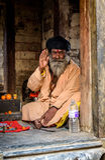 Um sadhu em Pashupatinath em Kathmandu, Nepal Fotos de Stock Royalty Free