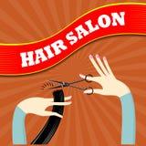Um salão de beleza do cabeleireiro da bandeira Fotos de Stock Royalty Free