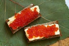 Um sanduíche com o caviar dos salmões vermelhos Fotografia de Stock