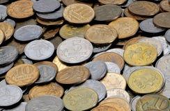 Um scatter das moedas 1, 5, 10 kopecks do russo Fotografia de Stock Royalty Free