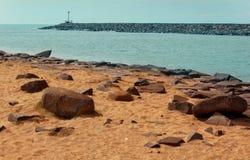 Um seascape da praia karaikal fotos de stock