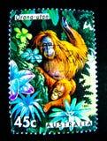 Um selo impresso em Austrália mostra uma imagem do orangotango utan no valor no centavo 45 Imagens de Stock Royalty Free