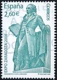 Um selo impresso na Espanha mostra o monumento a Francisco de Goya y Lucientes foto de stock