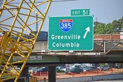 Um sinal da saída da estrada nacional I-385 fotos de stock royalty free