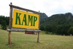 Um sinal do acampamento Foto de Stock Royalty Free