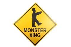 Um sinal do cruzamento do monstro para Dia das Bruxas Fotos de Stock