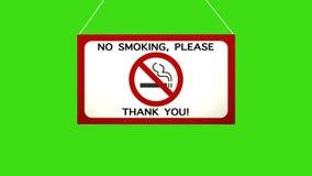 Um sinal do negócio que diga: Não fumadores Quedas animados e balanços da placa Tela verde fechada do canal alfa ilustração do vetor