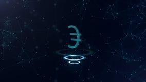 Um sinal magnífico do Euro 3d Contexto azul do Cyberspace do espaço com conexões a Internet A moeda do Euro está em três virtuais ilustração do vetor