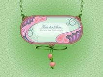 Um sinal ou uma decoração com lugar para o texto Pintura no esmalte com ornamento honeymoon ilustração royalty free
