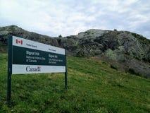Um sinal para o monte do sinal, um local histórico nacional de Canadá dos parques de Canadá em St John fotos de stock