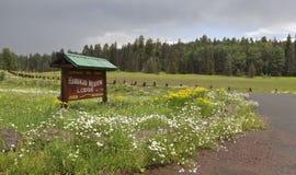 Um sinal perto de alpino, o Arizona do alojamento do prado de Hannagan Fotos de Stock