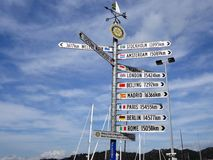 Um sinal que mostra distâncias das cidades principais do mundo do ímã imagens de stock