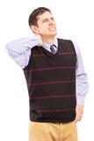 Um sofrimento novo de uma dor de pescoço Fotos de Stock Royalty Free