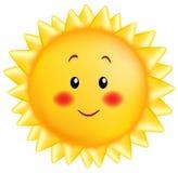 Um sol de sorriso pequeno na cor amarela em um estilo dos desenhos animados ilustração royalty free