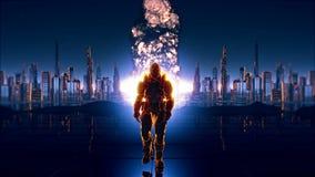 Um soldado futurista no fundo da cidade futura com uma bomba atômica detonada