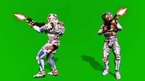 Um soldado solitário dos ataques futuros o inimigo no fundo da tela verde rendição 3d imagem de stock royalty free