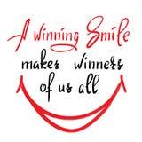 Um sorriso de vencimento faz a vencedores de nós todos - citações inspiradores engraçadas escritas à mão ilustração stock