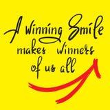 Um sorriso de vencimento faz a vencedores de nós todos - citações inspiradores engraçadas escritas à mão Imprima para o cartaz in ilustração do vetor