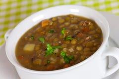 Um spoonful fresco do guisado da lentilha Fotos de Stock