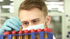 Um técnico de laboratório sério estuda os tubos de ensaio com ensaios fotografia de stock royalty free