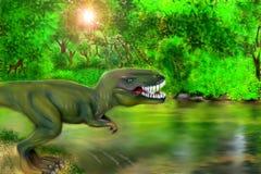 Um T-Rex perigoso perto de um rio ilustração royalty free