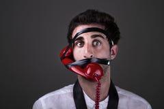 Um telephoneman louco Foto de Stock Royalty Free