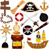 Um tema colorido do vetor do pirata, equipamentos, sai Fotos de Stock Royalty Free
