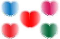 Um tema do dia do Valentim usando corações coloridos. Ilustração Stock