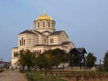 Um templo ortodoxo está em Khersonese Imagens de Stock