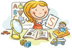 Um terapeuta de discurso das crianças com brinquedos, livros, letras, espelho ilustração stock