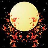 Um teste padrão abstrato e a lua. Imagens de Stock Royalty Free