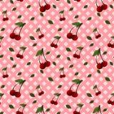 Um teste padrão com as cerejas compostas com e sem as folhas Fotos de Stock Royalty Free