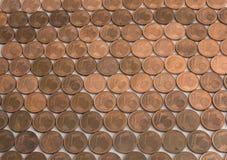 Um teste padrão das moedas do centavo euro- Fotografia de Stock Royalty Free