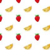 Um teste padrão das morangos e das cunhas da laranja Imagens de Stock Royalty Free