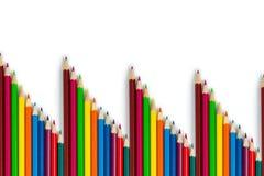 Um teste padr?o de l?pis coloridos em um fundo branco Artigos isolados fotos de stock royalty free