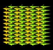 Um teste padrão inclinado verde-amarelo de muitos peixes Foto de Stock Royalty Free