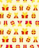 Um teste padrão para o papel festivo dos presentes vermelhos ilustração do vetor